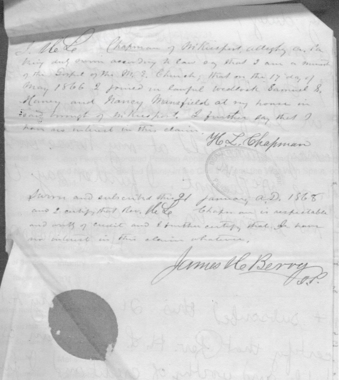 Affidavit of minister for marriage of Samuel Haney and Nancy Mansfield.